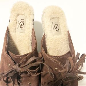 UGG Shoes - Ugg Brown Suede Sheepskin Lace Up Heeled Clogs